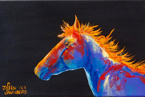 "'Left Profile on Black' - Acrylic on Canvas - 7"" x 12"" - by John Saunder"
