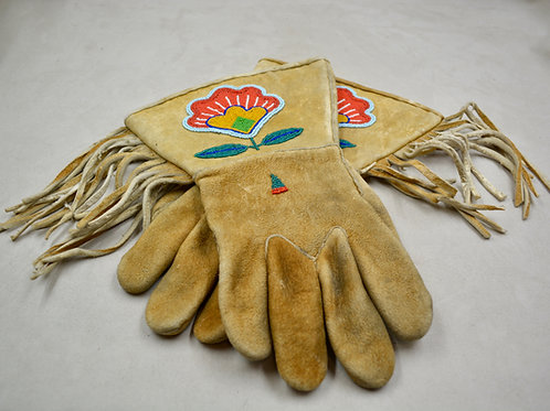 Sioux Style Beaded Leather Moosehide Gauntlets, Ca 1900