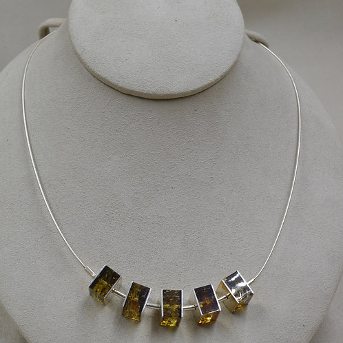 Green Amber & S. Silver 5 SmallSquare Necklace by MTM Silver