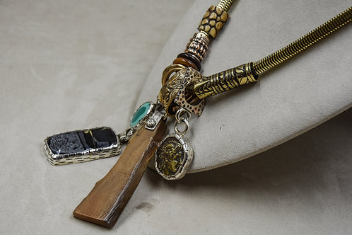 Antique Chain with Ebony, Horn, Bone, and Brass Necklace by Melanie DeLuca