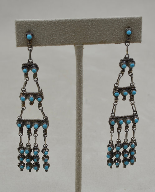 Vintage 60's Zuni Sterling Silver Petit Turquoise Chandelier Earrings