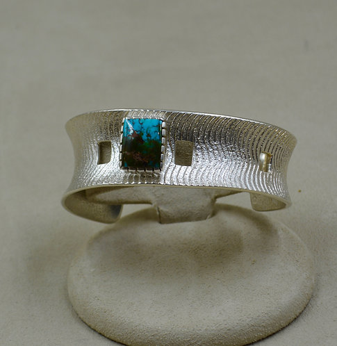 SS Tufa Cuttle Cast w/ Natural Royston Turquoise Cuff by Althea Cajero