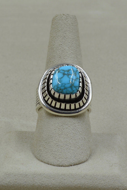 S. Silver Double Bezel w/ Natural Candelaria Turquoise 8.5x Ring by Marian Nez