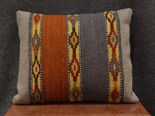 """Set of 2 Gray & Terracotta Zapotec Pillows - 15"""" X 20"""""""