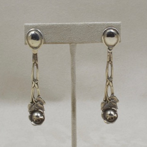4 O'Clock Rose Sterling Silver Earrings by Jerry Faires