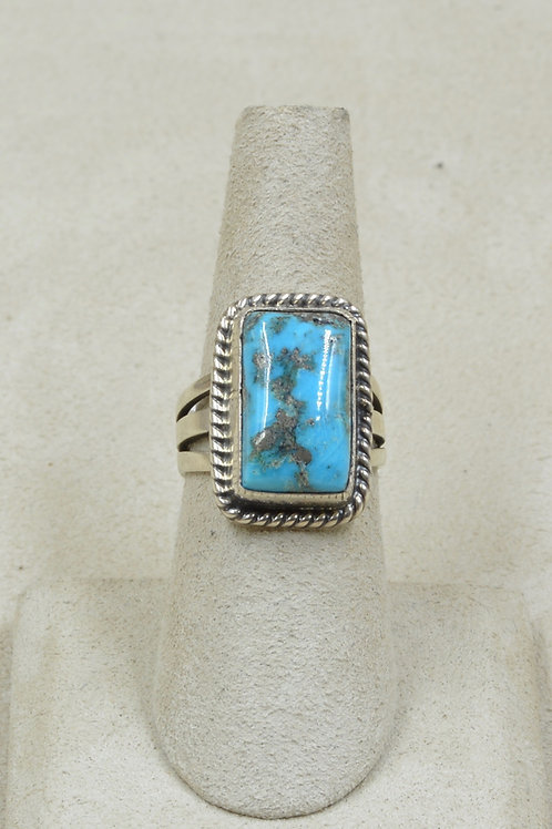 Natural Morenci Turquoise & Sterling Silver 6 3/4x Ring by Andy Cadman