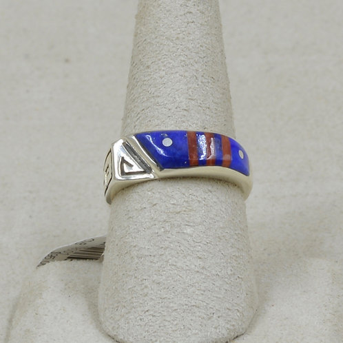 Superman Lapis, Coral, & Sterling Silver 7.5x Ring by Veronica Benally