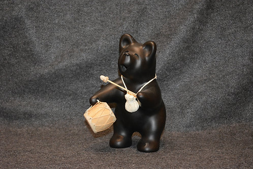 Small Black Bear Drummer Sculpture by Randy Chitto