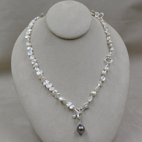 Freshwater White Keshi Pearls Necklace w/ 5mm Button Pearl Toggle by Reba Engel