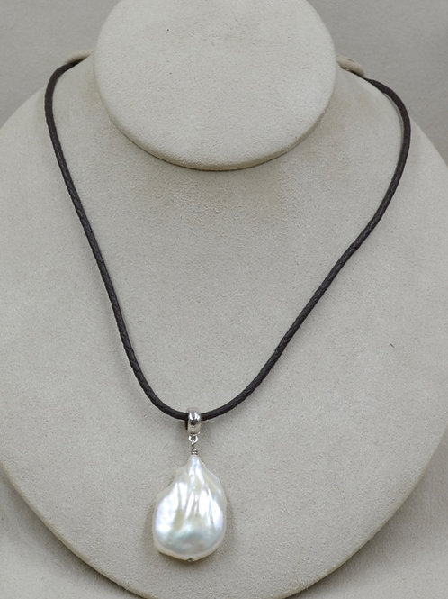 Cultured Freshwater Lg. White Pearl Necklace on Brown Leather by US Pearl Co.