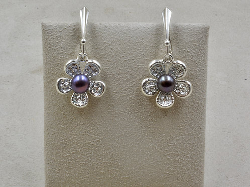Ravens Wing Sterling Silver Flower Earrings by Althea Cajero
