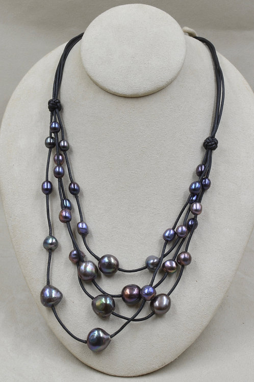 Elegant Purple Cultured Freshwater Peacock Pearls on Black Leather by US Pearl