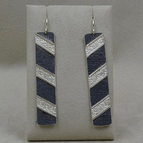 3 Bar Tab Long Sterling Silver Oxidized Wire Earrings by Mark Roanhorse Crawford