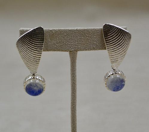 Silver Tufa Cuttle Cast Post Earrings w/ Moonstones by Althea Cajero