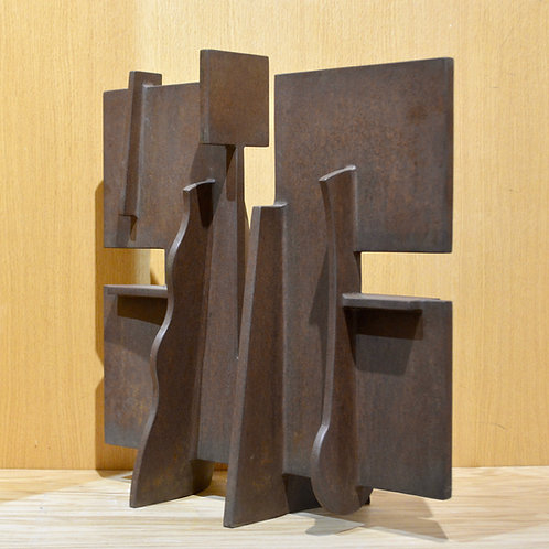 """2 Ledges"" Rusted Steel Sculpture 18"" x 18.5"" by Dave Larson"