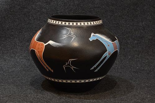 Zia Horse Pot - 1990's -  by Ralph Aragon, San Felipe/Zia Pueblos