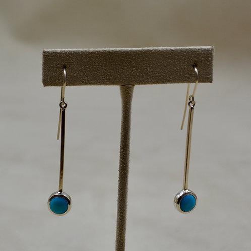 8mm Round Kingman Turquoise Wire Earrings by John Paul Rangel