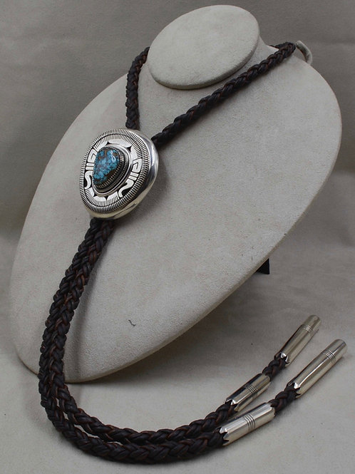 Sterling Silver and Natural Apache Blue Turquoise by Leonard Nez