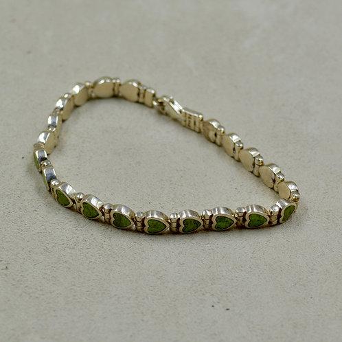Gaspeite Mini Hearts & S. Silver Tennis Bracelet by Peyote Bird