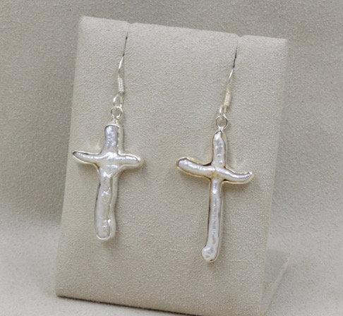 Freshwater Pearl Cross Earrings by Richard Lindsay