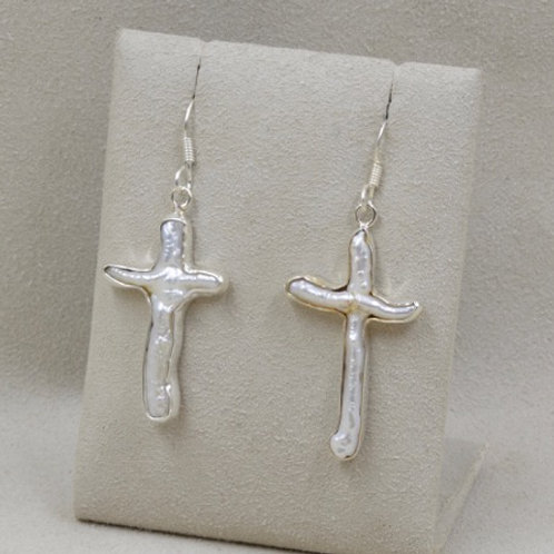 Freshwater Pearl Cross Earrings by Richard Lindsay