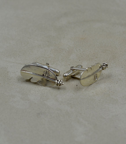 Hand-forged Sterling Silver Feather Cufflinks w/ SS Shanks by Tchin