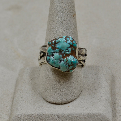 SS18k Gold & Turquoise Nugget Arroyo Seco 10.5x Ring by Robert Mac Eustace Jones