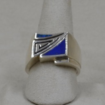 Men's Triangle Inlay Lapis & Opal 10 1/2X Ring by Lente