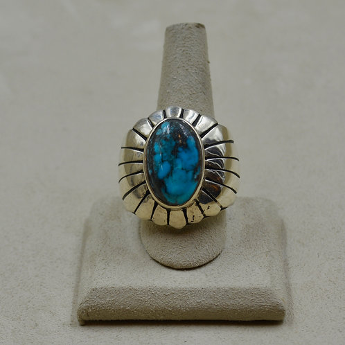 Large Sterling Silver Feather w/ Kingman Turquoise 13.5x Ring by JL McKinney