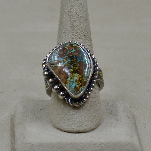 Nat. Royston Turquoise, 24k Gold Foil, Keum Boo 10x Ring by Cheryl Arviso