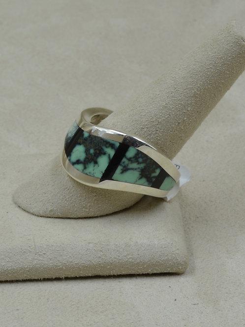 S. Silver 12x Wave Ring w/ Black Jade & Variscite Inlay by Tim Busch