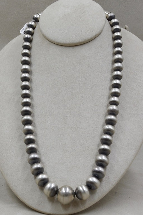 Graduated Matte Sterling Silver Handmade Beads Necklace by Lapidary Mastery