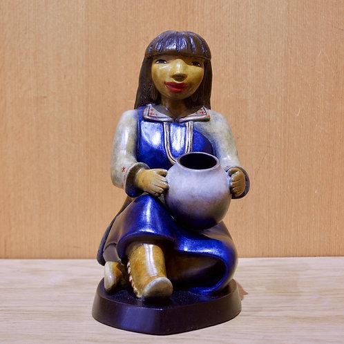 """""""Pueblo Potter""""  Bronze Sculpture by Kathleen Wall, Jemez Pueblo"""