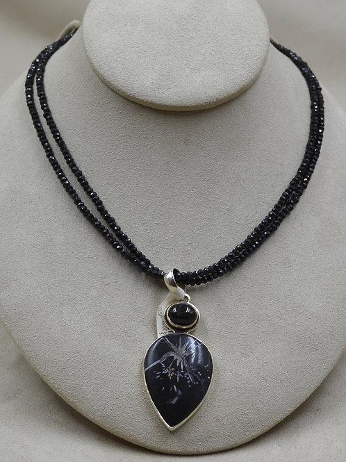 S. Silver Double Line Semi-Precious Black Spinel Necklace by Sanchi & Filia
