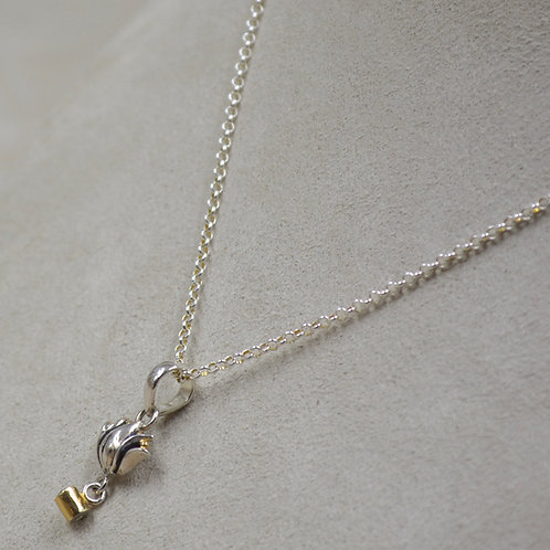 S. Silver Lotus Dangle Necklace w/ 18k Plate, Rhodolite on Chain by Roulette 18
