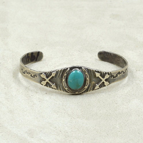 Vintage Fred Harvey Era Sterling Silver & Turquoise Cuff
