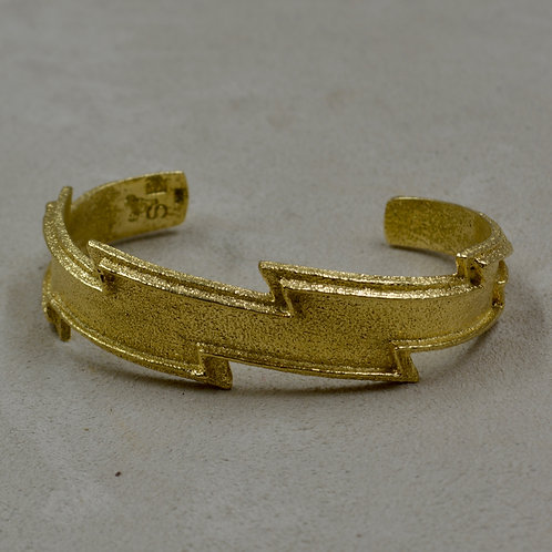 18k Gold Tufa Cast Lightning, 61 grams, Cuff by Sean Benally