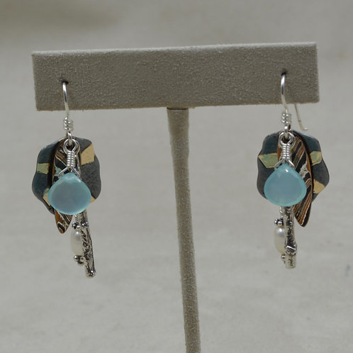 Canyon Chimes #2, SS, 18k Gold, Mokume, Opal, Pearl Earrings by Richard Lindsay