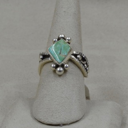 Pale Natural Royston Turquoise 8X Ring by Cheryl Arviso