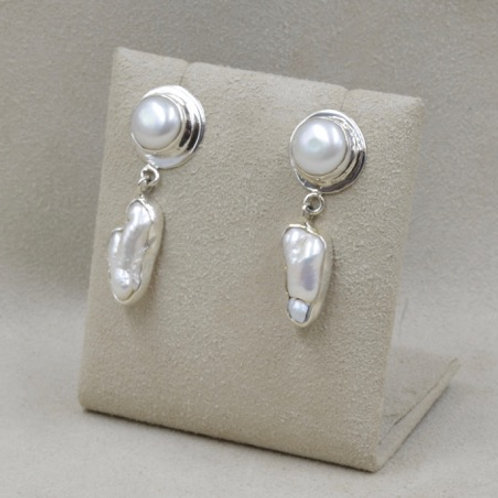 Button Earrings with Biwa Pearls and Fresh Water Pearls by Richard Lindsay