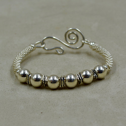 S. Silver Handwoven Bracelet w/ 5 Lg SS Beads by Sippecan Designs