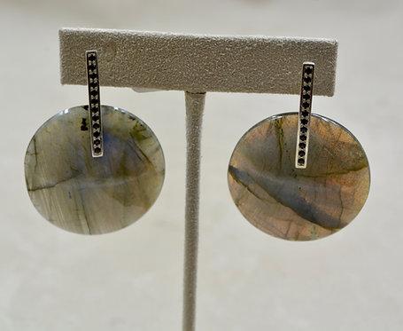 35mm Round Labradorite Discs w/ SS & Black Spinel Earrings by Reba Engel