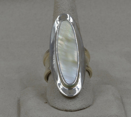 Sterling Silver Mother of Pearl Saddle 9 3/4X Ring by Tim Busch