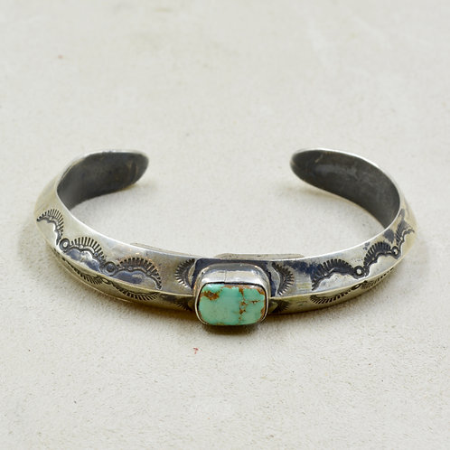 Sterling Silver Ingot Cuff w/ Stab Carico Lake Turquoise by Red Rabbit Trading