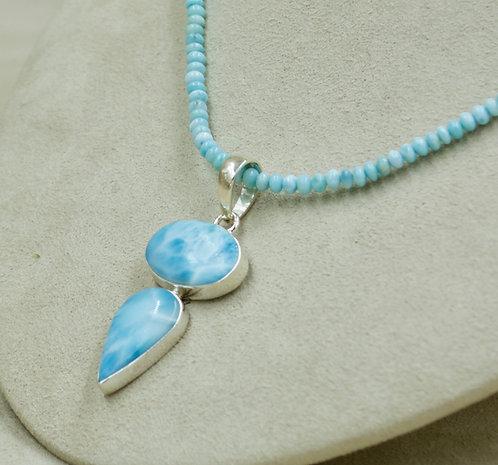 Larimar 2 Stoned & Sterling Silver Pendant by Sanchi & Filia