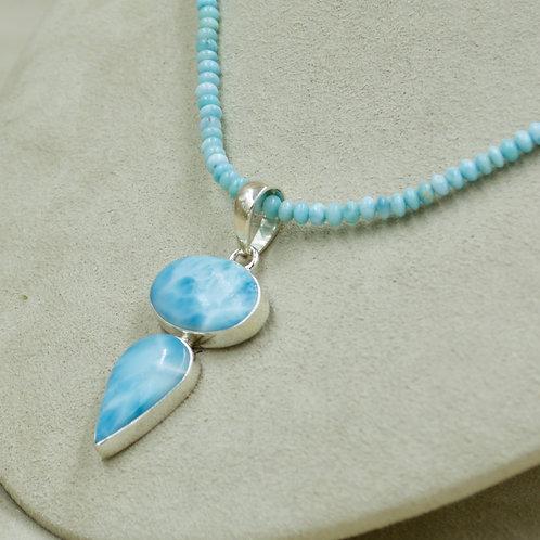 Larimar 2 Stone & Sterling Silver Pendant by Sanchi & Filia