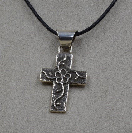 Sterling Silver Tufa Cross with Flower by Cheryl Arviso