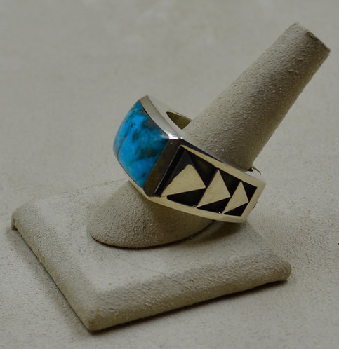 Turquoise & Sterling Silver Triple Arrow Large 14x Ring by JL McKinney