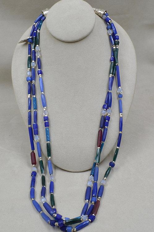 3-Strand Czechnoloslovakian Antique Trade Beads Necklace by Melanice DeLuca