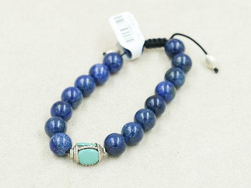 Sterling Silver w/ Lapis, & Turquoise Meditation Bracelet by Reba Engel